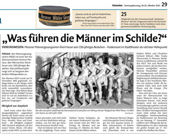 Dolomiten Ausgabe 20_10_2012 -Bericht Jubiläumskonzert