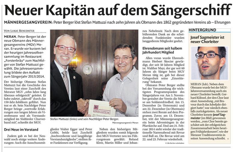 Presse-2013.09.17-Dolomiten-Bericht-MGV-Vollversammlung